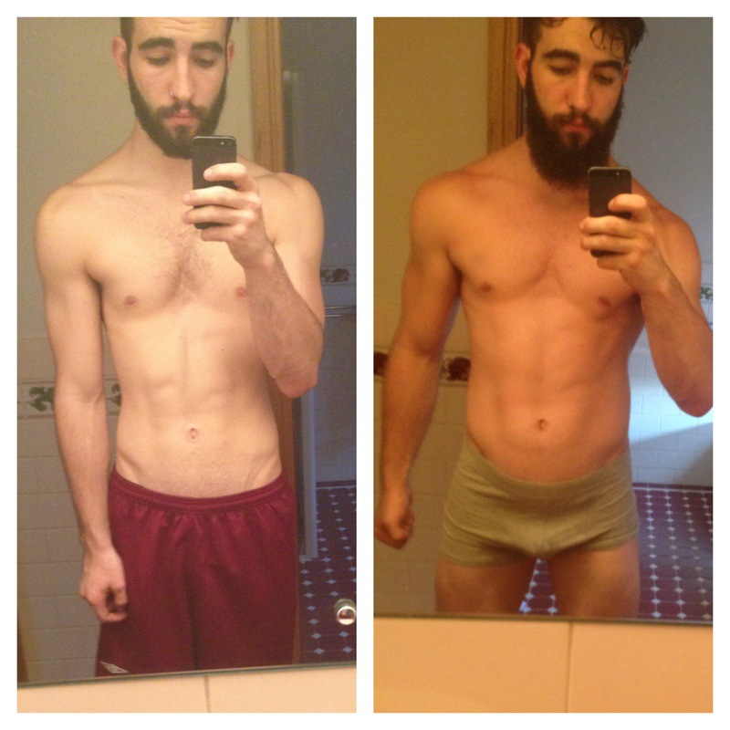 28 lbs Muscle Gain Before and After 6 foot 2 Male 165 lbs to 193 lbs