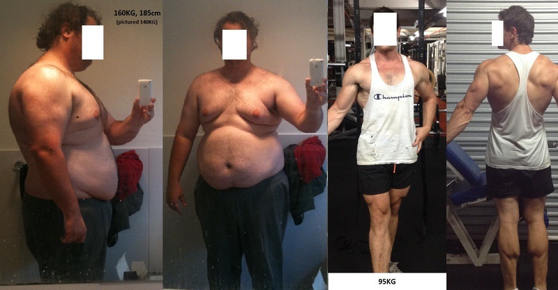 6 feet 1 Male Before and After 140 lbs Fat Loss 350 lbs to 210 lbs