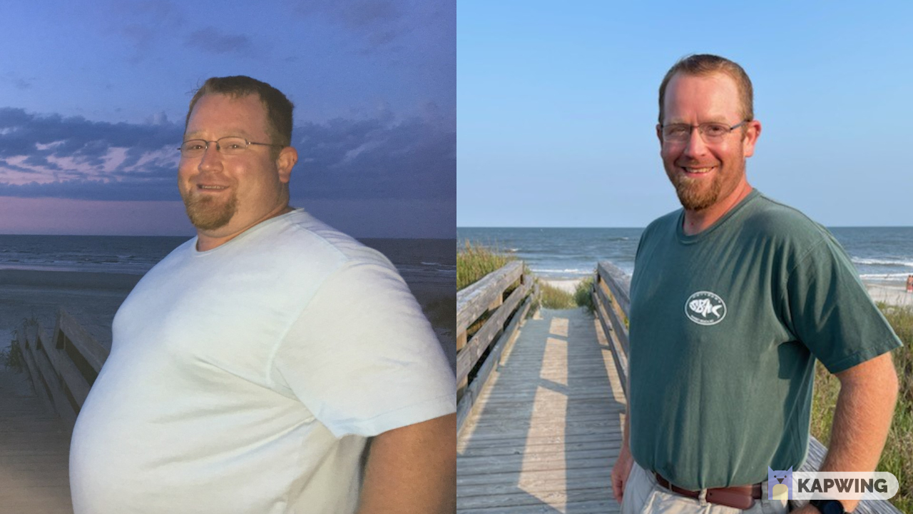Before and After 145 lbs Fat Loss 5 foot 11 Male 373 lbs to 228 lbs