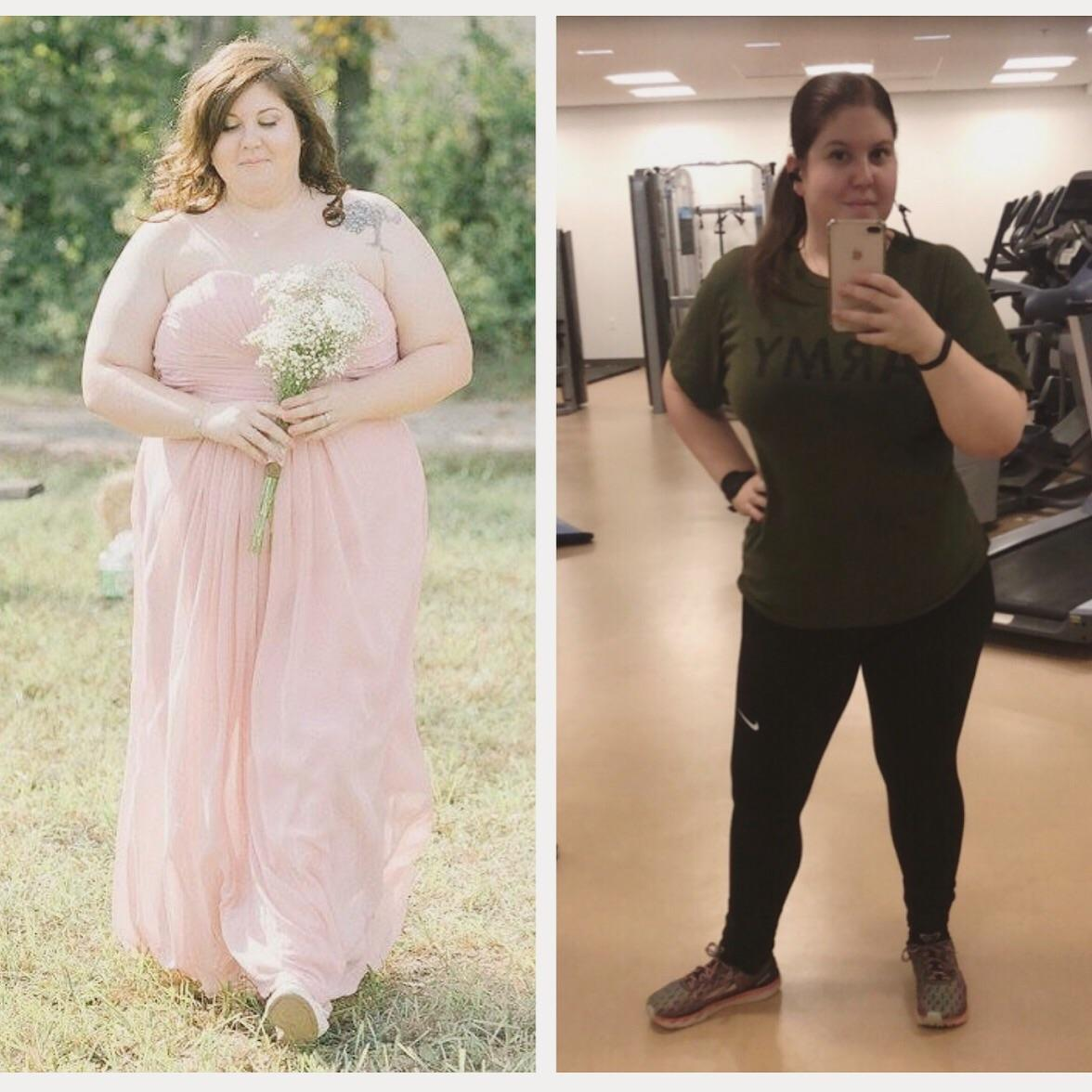 Before and After 60 lbs Weight Loss 5 foot 7 Female 290 lbs to 230 lbs