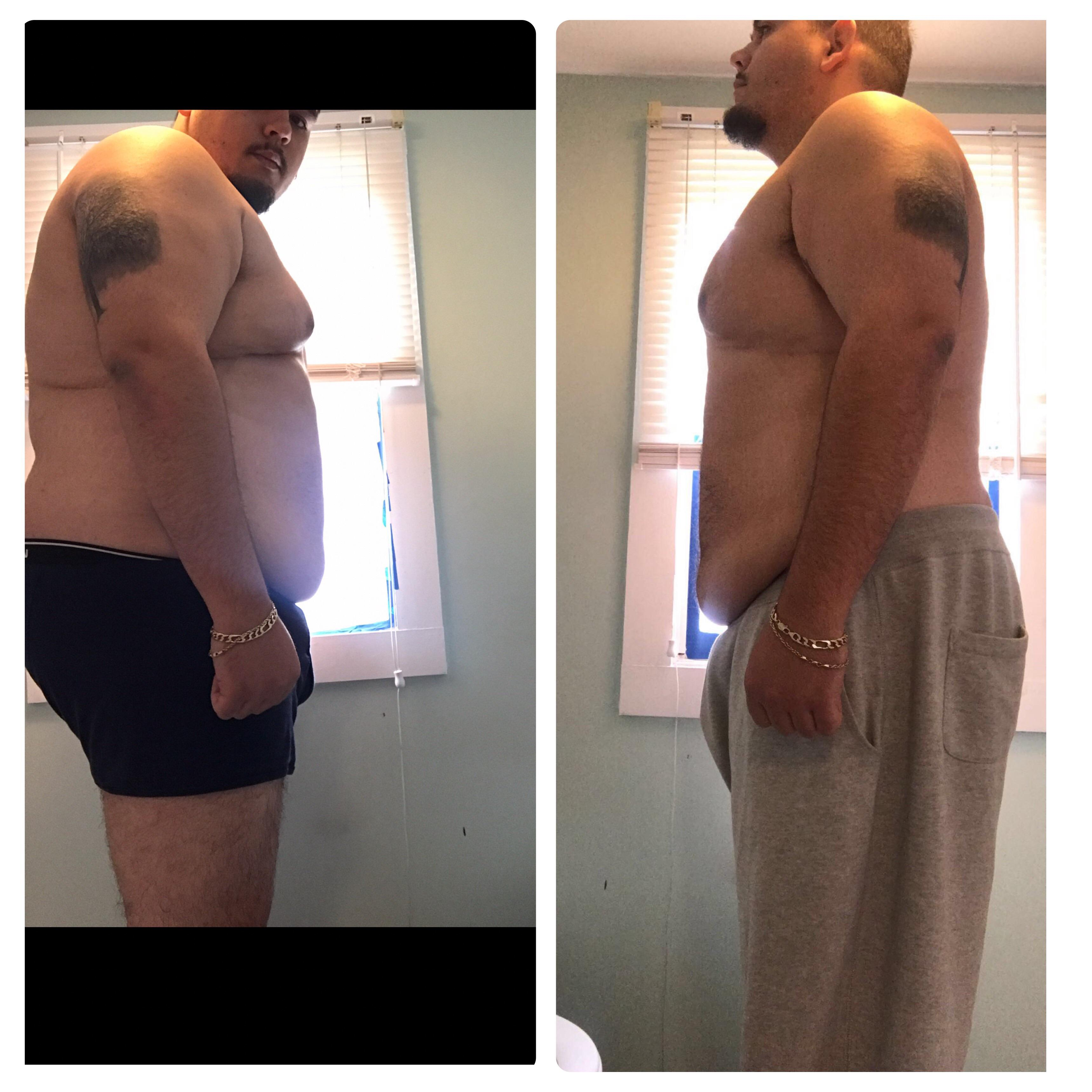 45 lbs Weight Loss Before and After 6 foot 1 Male 335 lbs to 290 lbs