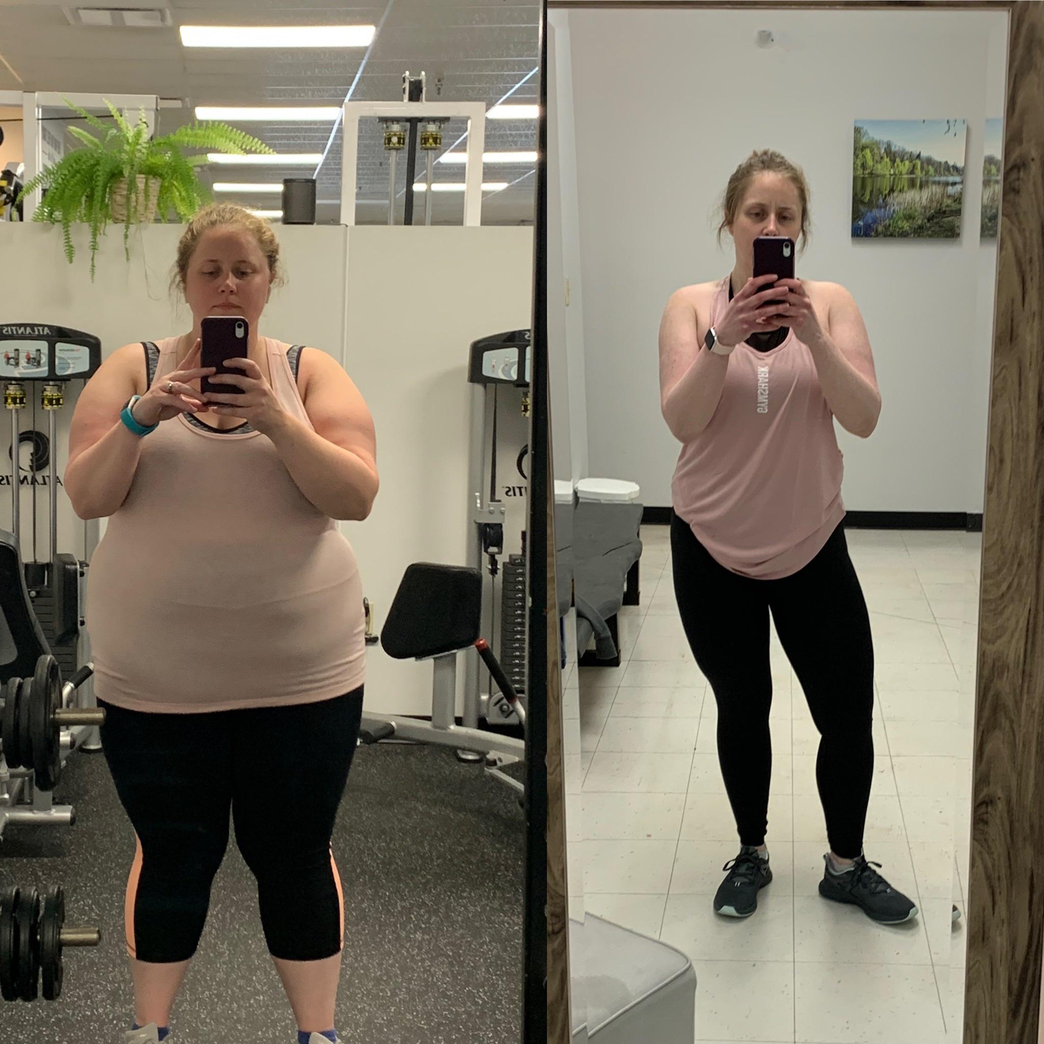 5 feet 7 Female Before and After 118 lbs Fat Loss 298 lbs to 180 lbs
