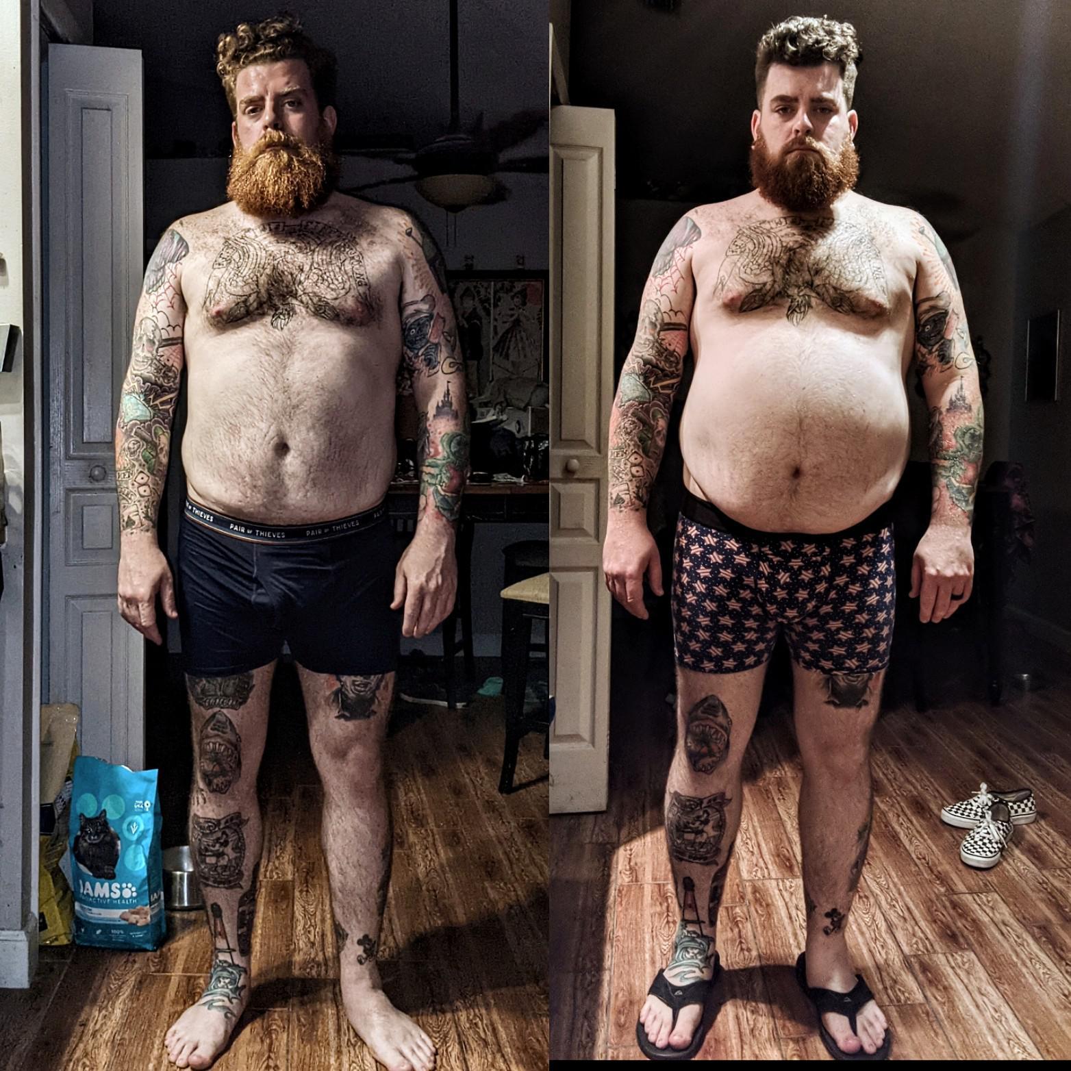 5'11 Male Progress Pics of 58 lbs Fat Loss 300 lbs to 242 lbs