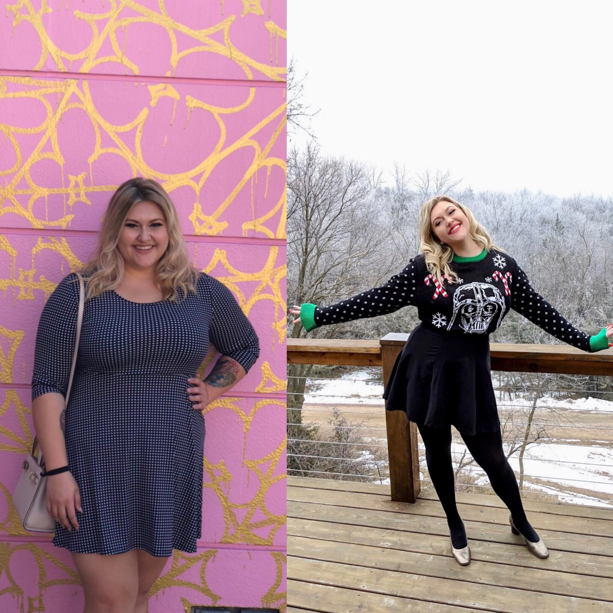 70 lbs Fat Loss Before and After 5 foot 7 Female 250 lbs to 180 lbs
