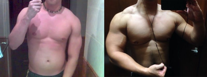 6 foot Male Before and After 80 lbs Weight Gain 155 lbs to 235 lbs