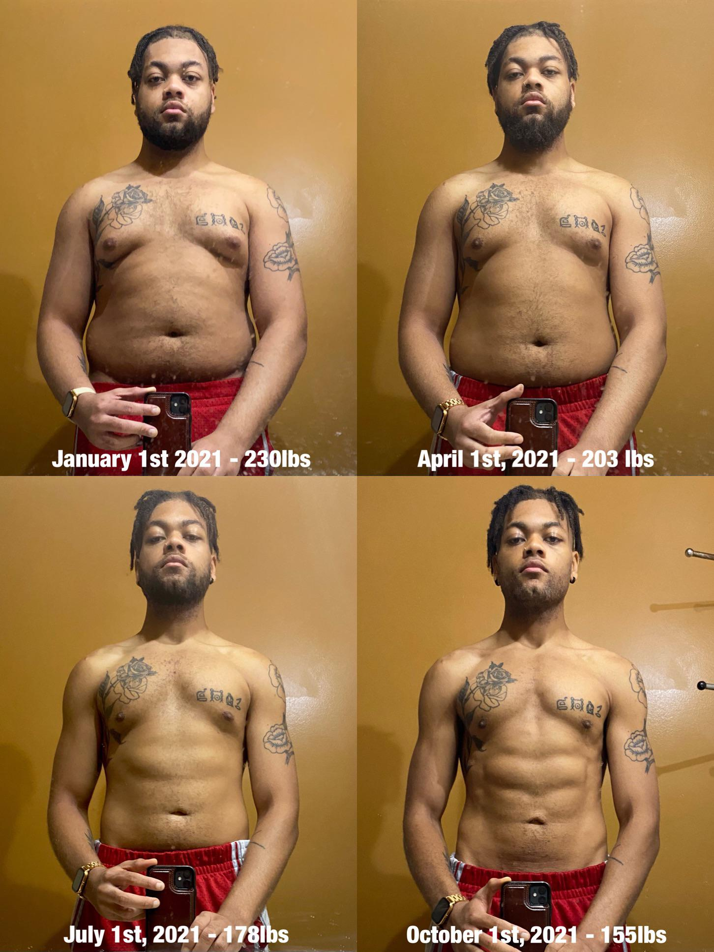 6 foot Male 75 lbs Weight Loss 230 lbs to 155 lbs