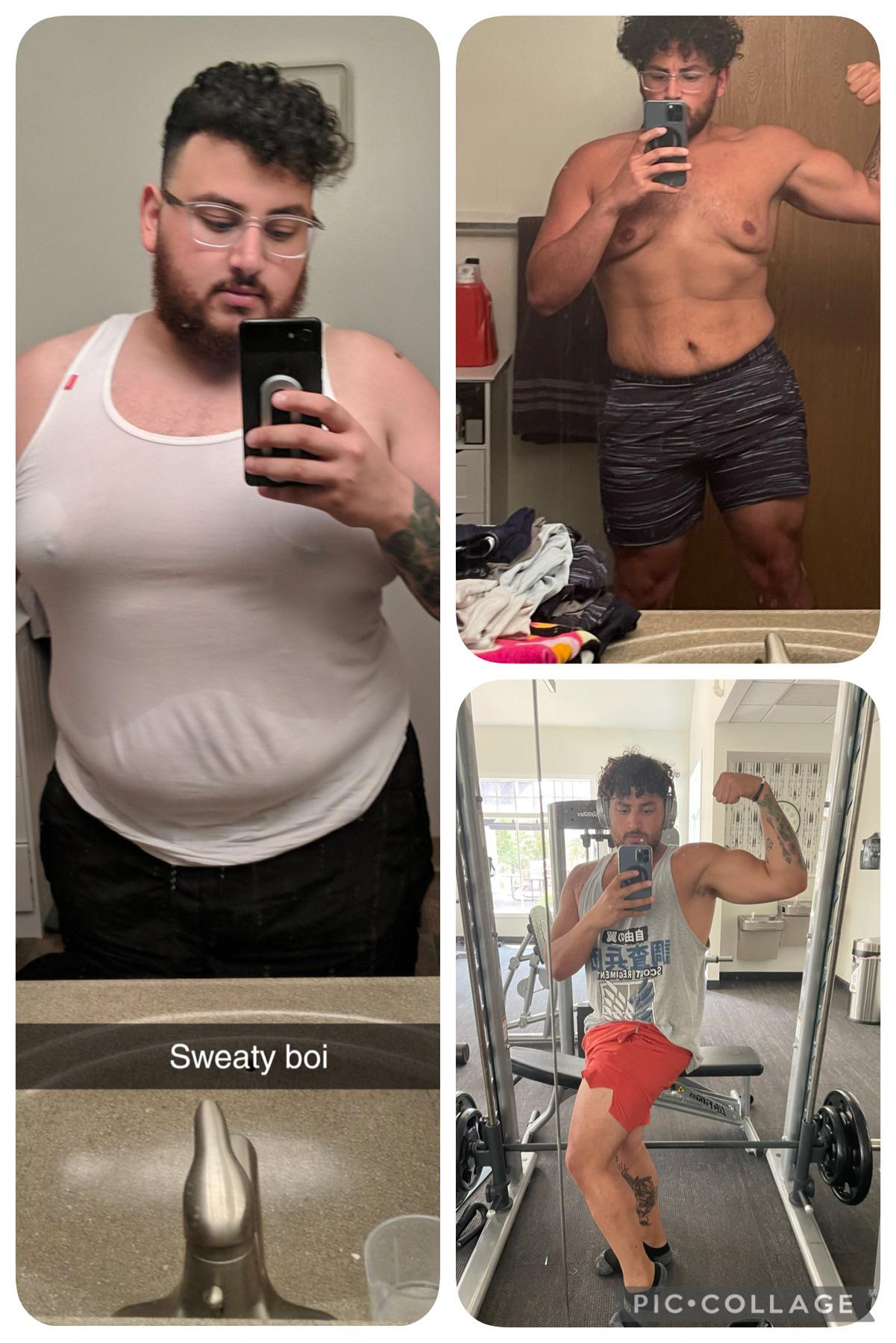 5'7 Male Before and After 89 lbs Weight Loss 310 lbs to 221 lbs
