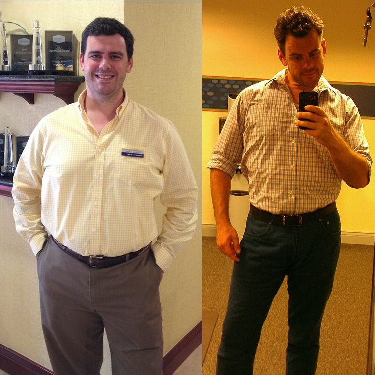 Before and After 30 lbs Fat Loss 6 foot Male 235 lbs to 205 lbs