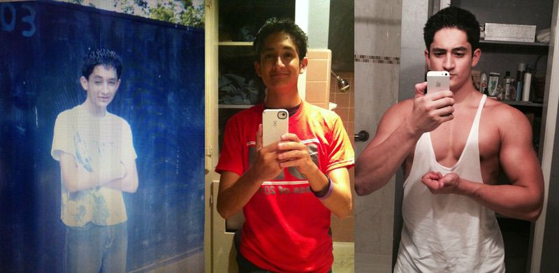 Before and After 62 lbs Muscle Gain 5 feet 9 Male 108 lbs to 170 lbs