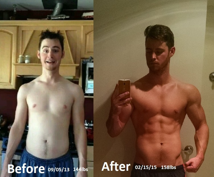 5 foot 9 Male Before and After 14 lbs Weight Gain 144 lbs to 158 lbs