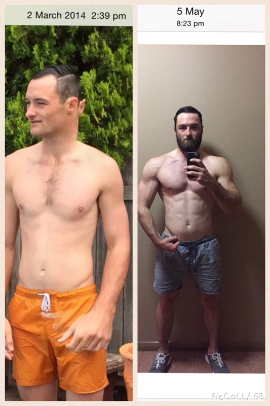 27 lbs Muscle Gain Before and After 6 foot Male 152 lbs to 179 lbs