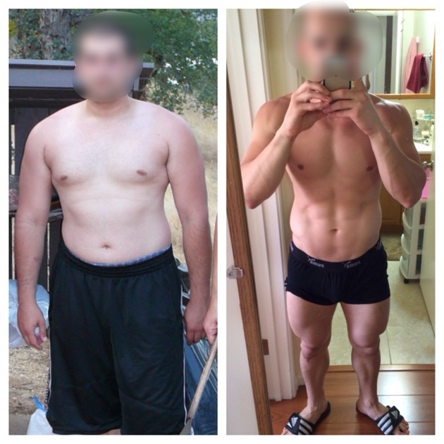 5 feet 5 Male 45 lbs Fat Loss Before and After 205 lbs to 160 lbs