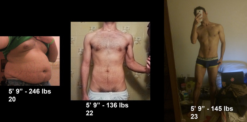 Before and After 110 lbs Fat Loss 5'9 Male 246 lbs to 136 lbs