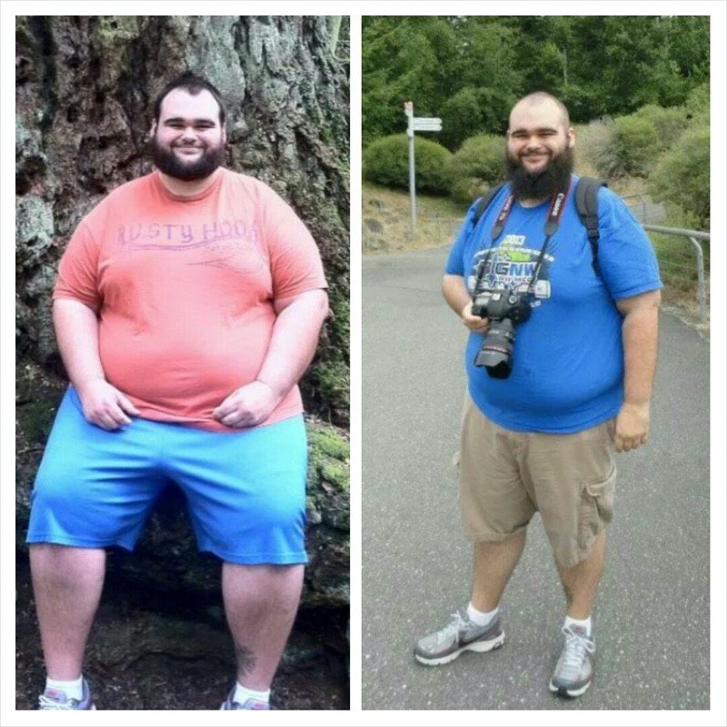 Before and After 84 lbs Fat Loss 5 foot 11 Male 428 lbs to 344 lbs