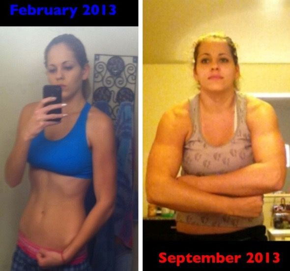 5 foot 8 Female Before and After 37 lbs Muscle Gain 107 lbs to 144 lbs