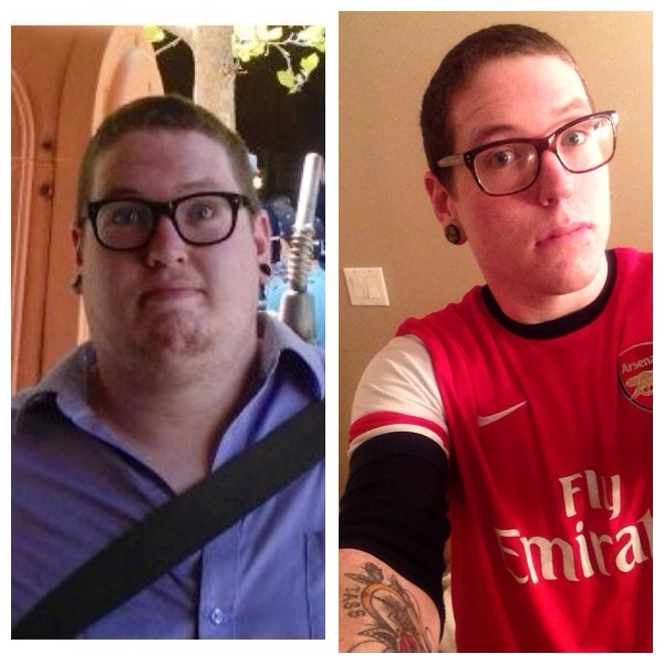 Before and After 90 lbs Fat Loss 6 feet 6 Male 320 lbs to 230 lbs