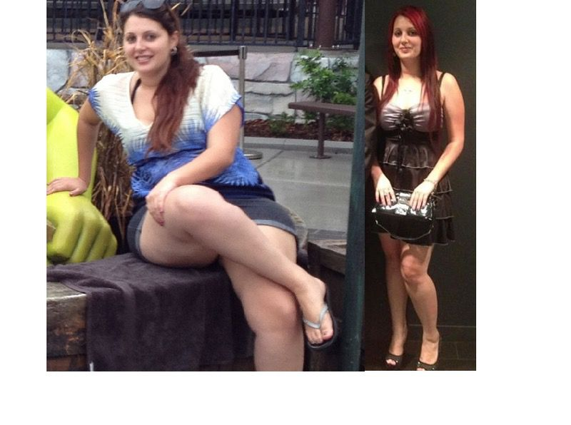 Before and After 44 lbs Fat Loss 5 foot 5 Female 202 lbs to 158 lbs