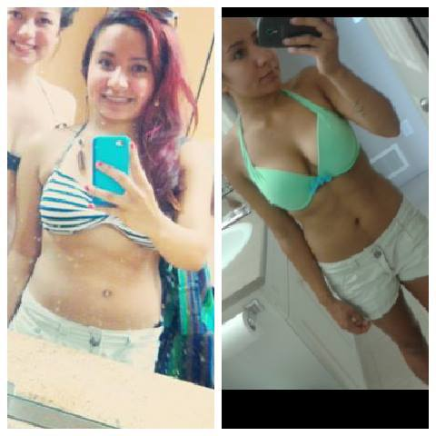 15 lbs Fat Loss Before and After 4 foot 10 Female 120 lbs to 105 lbs