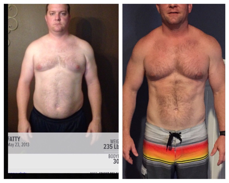 Before and After 21 lbs Fat Loss 6 foot Male 235 lbs to 214 lbs