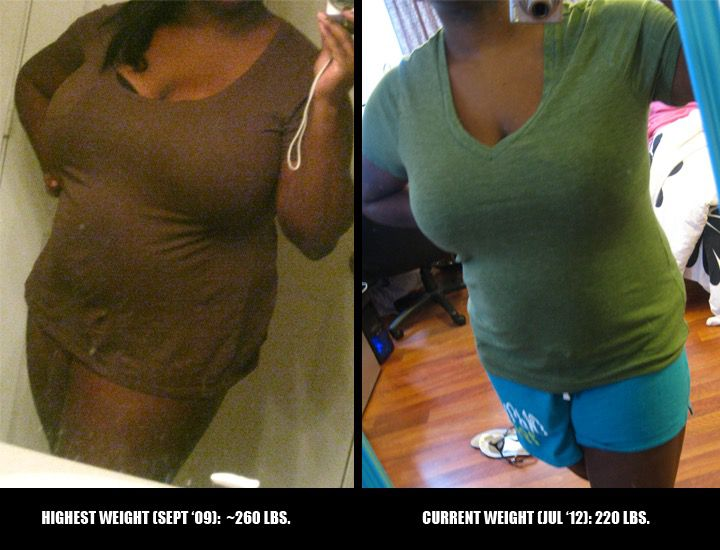 Before and After 40 lbs Fat Loss 5 foot Female 260 lbs to 220 lbs