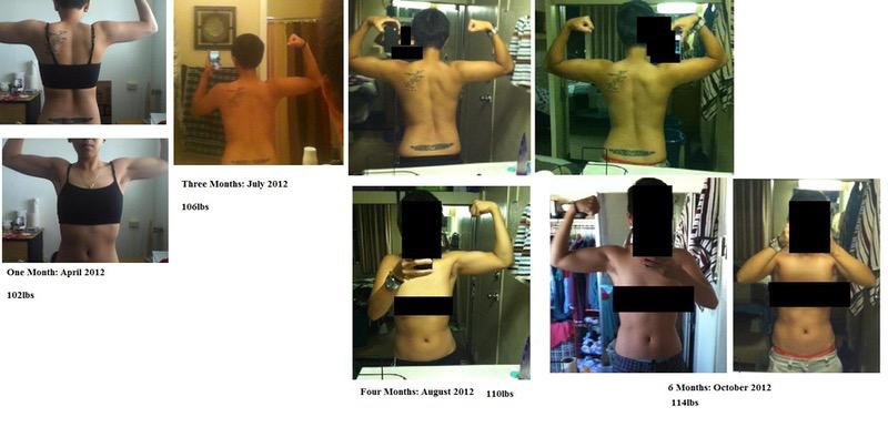 5 feet 2 Female 18 lbs Muscle Gain Before and After 96 lbs to 114 lbs