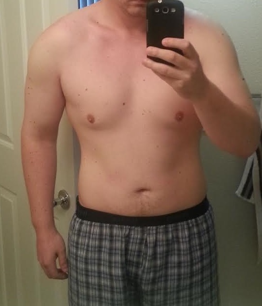 Before and After 34 lbs Fat Loss 6 foot Male 208 lbs to 174 lbs