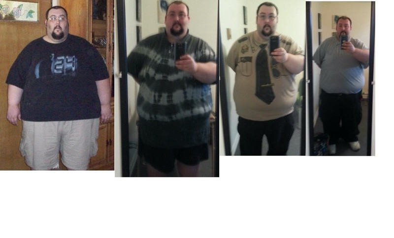 Before and After 130 lbs Fat Loss 5 feet 10 Male 550 lbs to 420 lbs