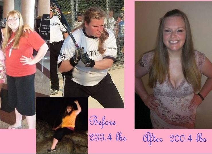 5'7 Female Before and After 33 lbs Weight Loss 233 lbs to 200 lbs