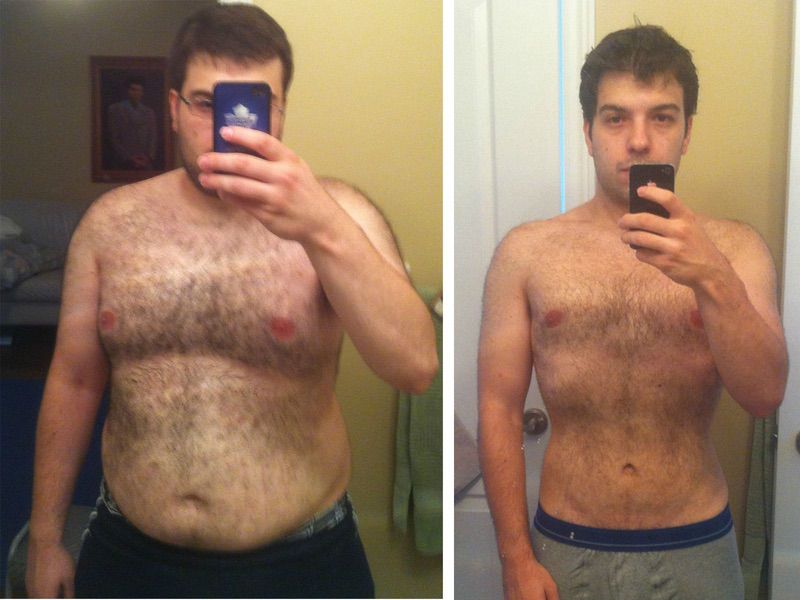 Before and After 80 lbs Weight Loss 5 feet 7 Male 240 lbs to 160 lbs