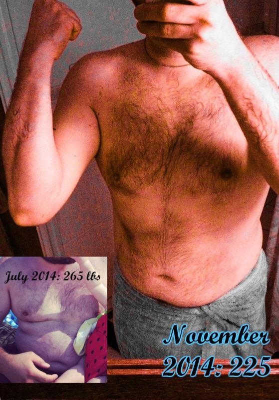 6 foot 1 Male 40 lbs Fat Loss 265 lbs to 225 lbs