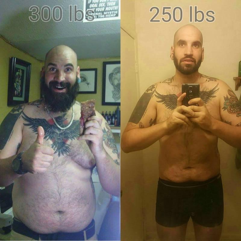 50 lbs Fat Loss 6 foot 7 Male 300 lbs to 250 lbs