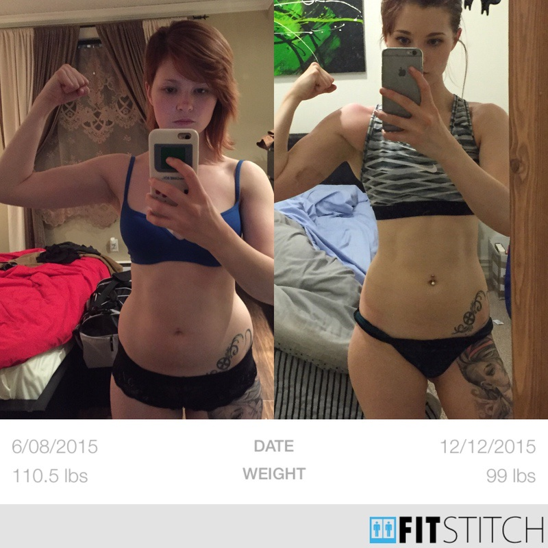 14 lbs Fat Loss Before and After 5'1 Female 113 lbs to 99 lbs