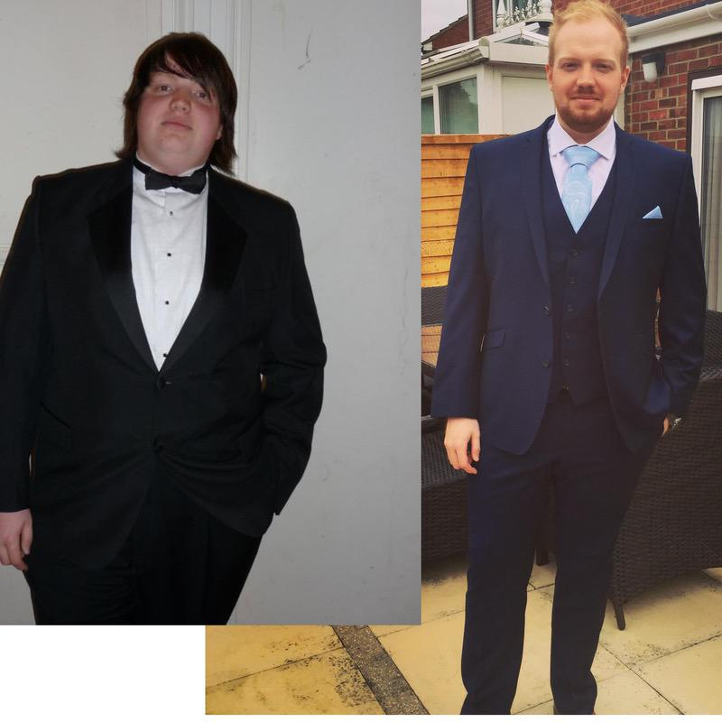 6 foot Male Before and After 136 lbs Fat Loss 356 lbs to 220 lbs