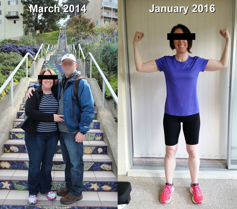 Before and After 86 lbs Fat Loss 5 feet 4 Female 206 lbs to 120 lbs