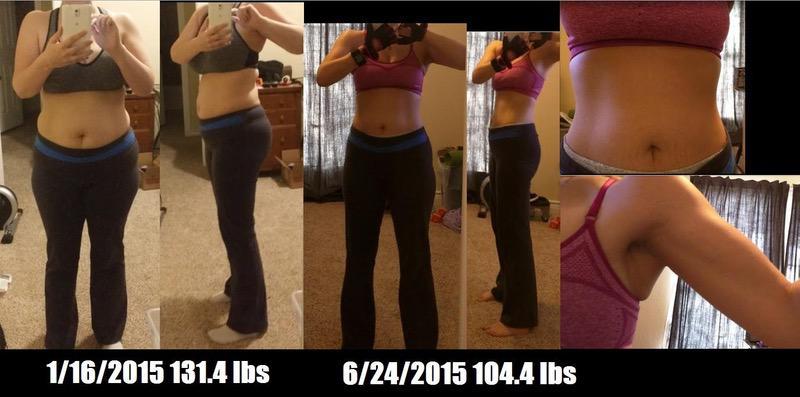 Progress Pics of 27 lbs Weight Loss 5 foot Female 131 lbs to 104 lbs