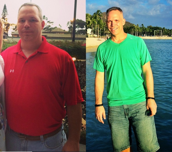 Before and After 68 lbs Fat Loss 5 foot 11 Male 267 lbs to 199 lbs