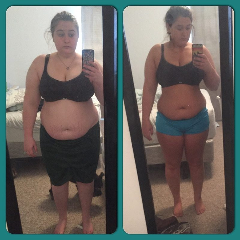 42 lbs Fat Loss Before and After 5 feet 1 Female 240 lbs to 198 lbs
