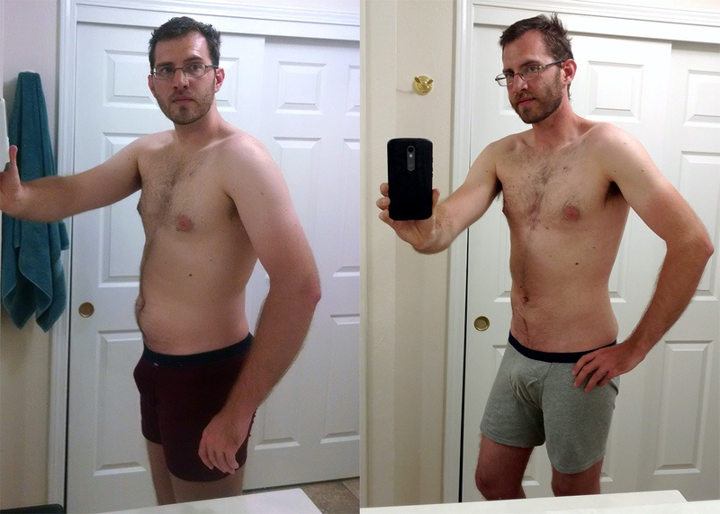 25 lbs Fat Loss Before and After 6 feet 4 Male 210 lbs to 185 lbs