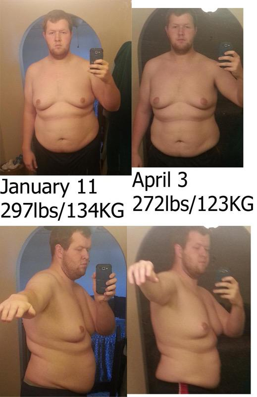 6 foot 3 Male Before and After 25 lbs Fat Loss 297 lbs to 272 lbs