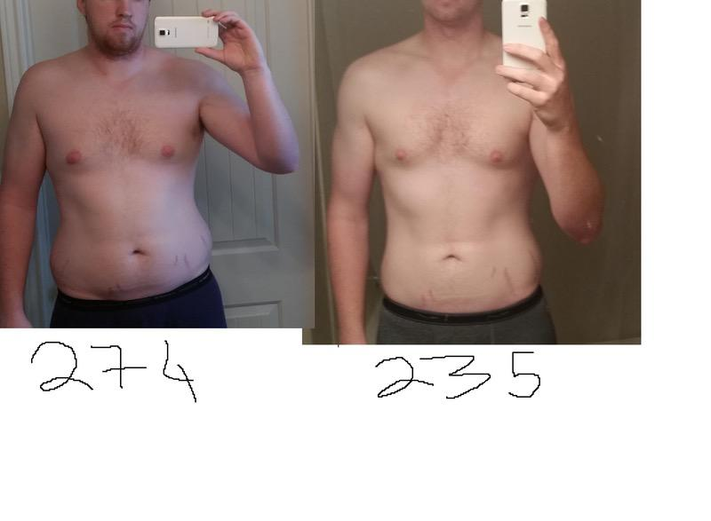 6'6 Male Before and After 38 lbs Weight Loss 274 lbs to 236 lbs