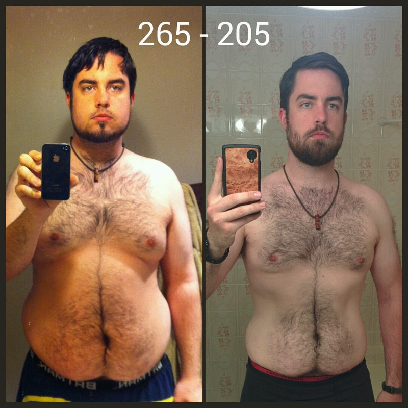 60 lbs Fat Loss Before and After 6 foot 2 Male 265 lbs to 205 lbs