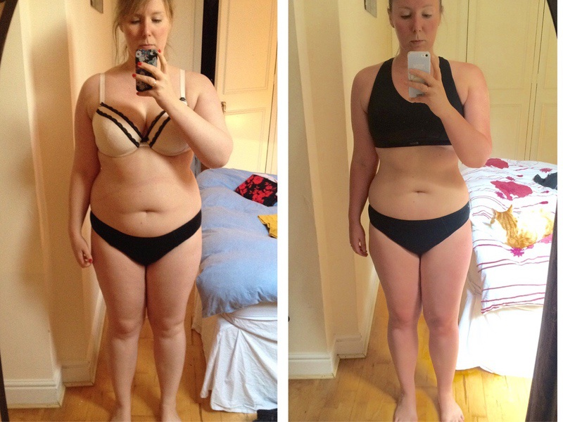 Before and After 30 lbs Fat Loss 5 feet 6 Female 204 lbs to 174 lbs