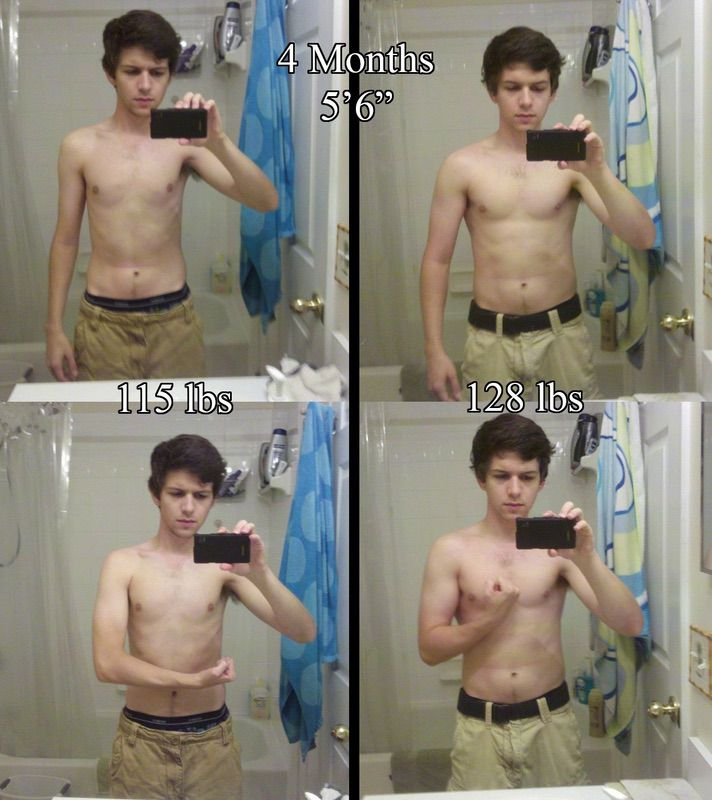 13 lbs Weight Gain Before and After 5'6 Male 115 lbs to 128 lbs