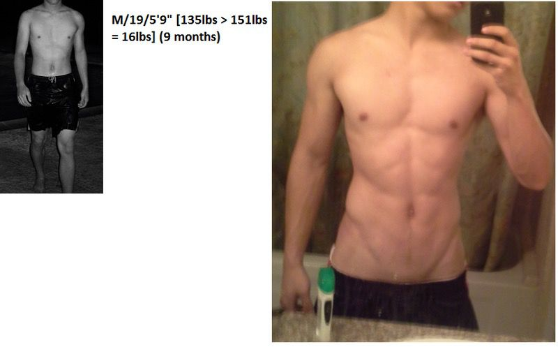 Before and After 16 lbs Weight Gain 5'9 Male 135 lbs to 151 lbs