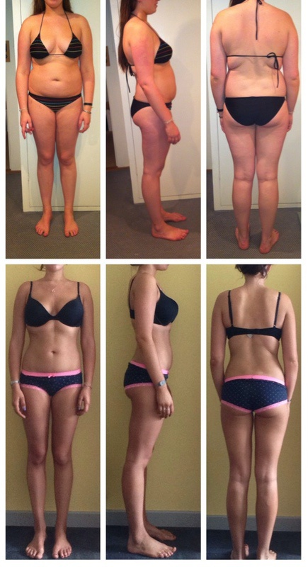 Before and After 25 lbs Fat Loss 5 foot 11 Female 181 lbs to 156 lbs