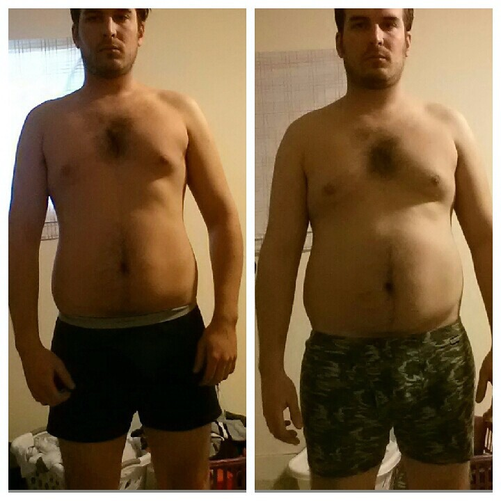 Before and After 17 lbs Fat Loss 5 foot 11 Male 219 lbs to 202 lbs
