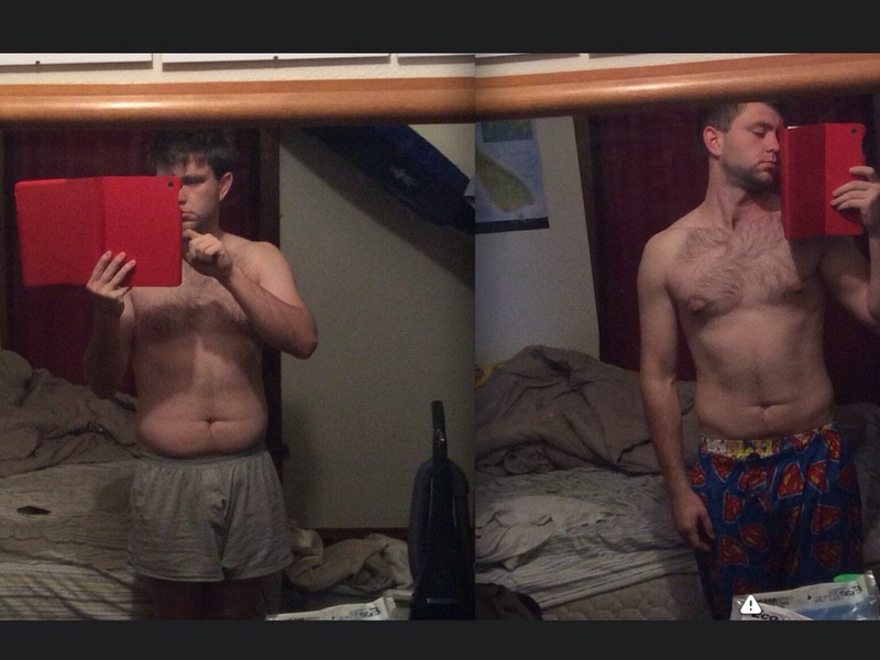 Before and After 20 lbs Weight Loss 6'2 Male 215 lbs to 195 lbs