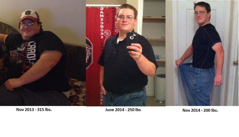 Before and After 115 lbs Weight Loss 5 foot 6 Male 315 lbs to 200 lbs