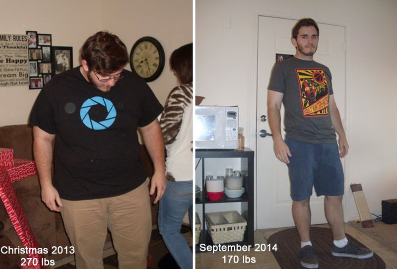 5 foot 8 Male 100 lbs Weight Loss Before and After 270 lbs to 170 lbs