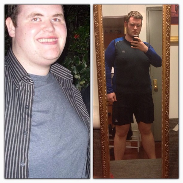 Before and After 90 lbs Weight Loss 6'1 Male 370 lbs to 280 lbs